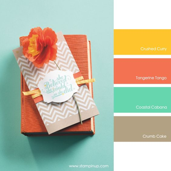 Stampin' Up! Color Combo: Crushed Curry, Tangerine Tango, Coastal Cabana, Crumb Cake #stampinupcolorcombos