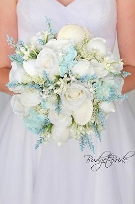 Beach Theme Brides Wedding Bouquet With Seashells Starfish All