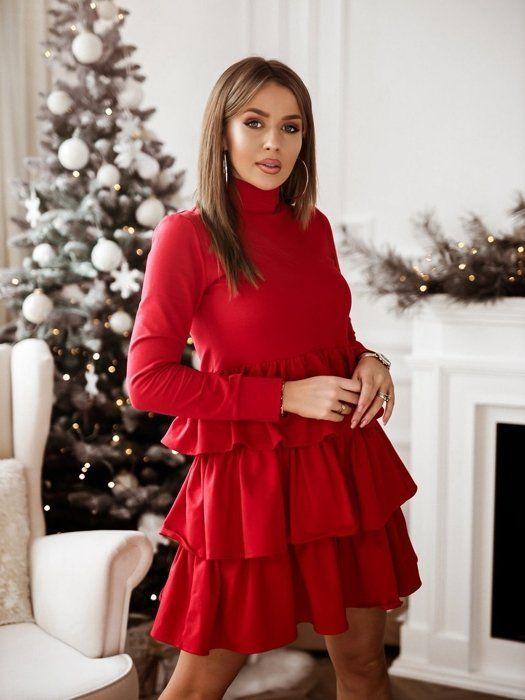 Czerwona Sukienka Z Delikatnym Golfem Dresses Fashion High Neck Dress