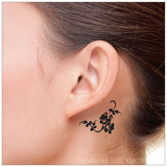 Temporary Tattoo 2 Flower Neck  Tattoos by UnrealInkShop on Etsy