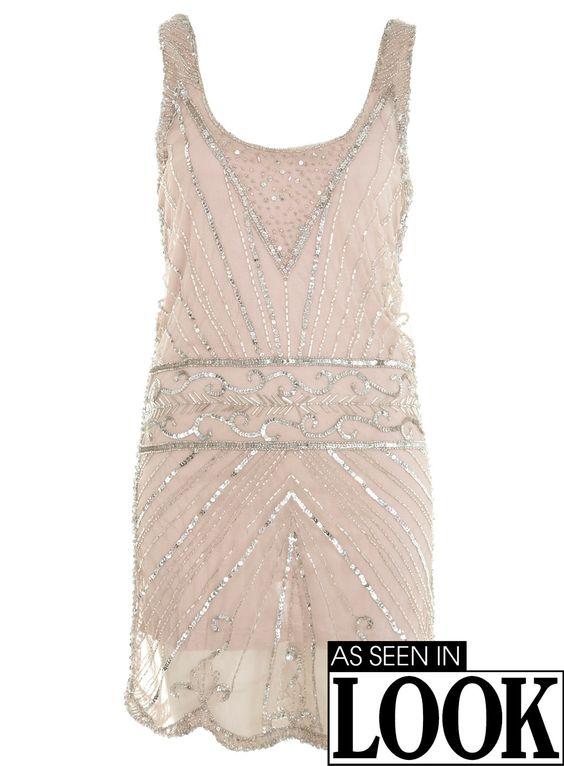 As seen in LOOK silver embellished dress