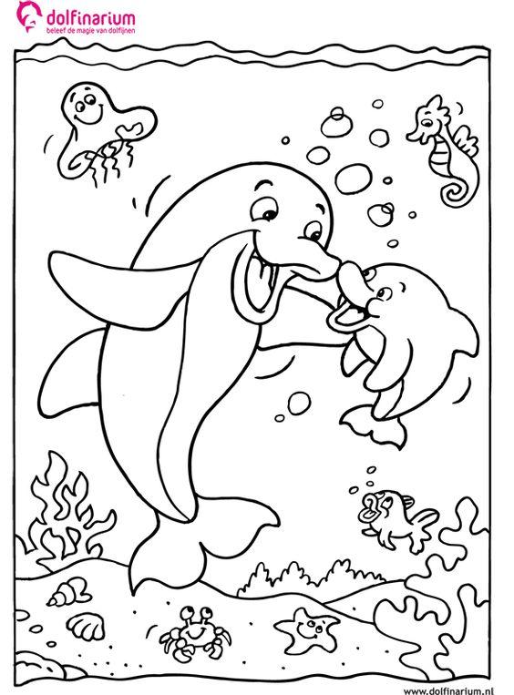 kleurplaat moeder dolfijn met zoon kleurplaatje