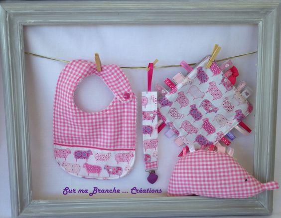 Ensemble assorti cadeau de naissance rose: Doudou hérisson, doudou étiquettes, attache sucette, bavoir : Mode Bébé par sur-ma-branche-creations