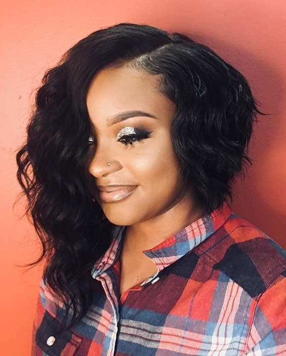 25 Bob Hairstyles For Black Women That Are Trendy Right Now Asymmetrical Bob Haircuts Wavy Bob Hairstyles Bob Hairstyles