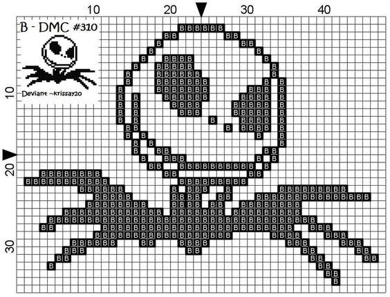 Free Jack Skelington Cross Stitch Pattern (By Jack Skellington Cross Stitch by ~Krissay20)