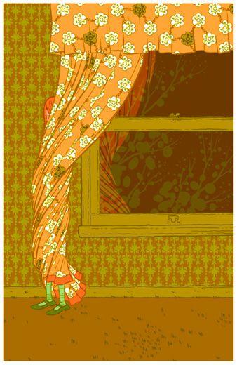 Jordan Crane - Untitled Curtains  17 X 26 hand pulled screenprint.: