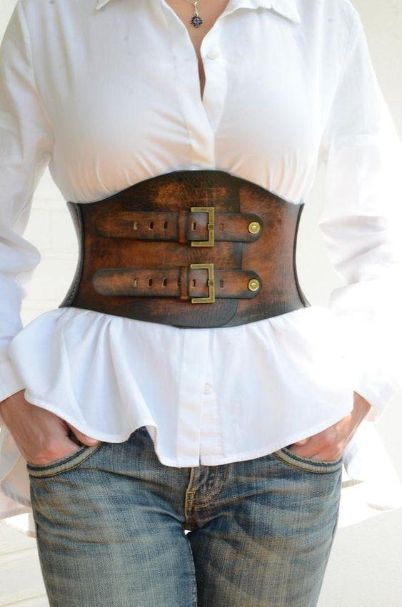 Brown leather corset belt Boho belt Wide waist belt Womens leather belt Womens western belt Rustic leather belt Plus size available