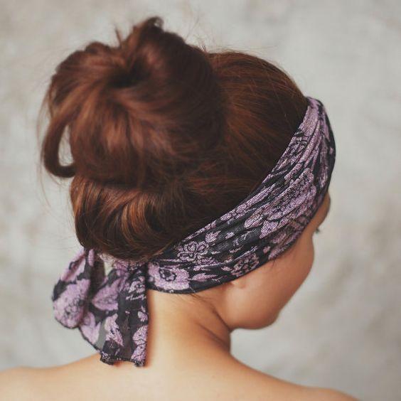Chiffon scarf, hair scarf, head wrap, neck bow, stretchy headband, violet and black boho pattern LL on Etsy, $12.95