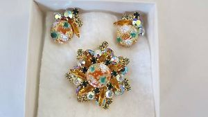 D E Juliana Stippled Cabochon Jonquil Topaz Brooch Earrings Book Piece | eBay