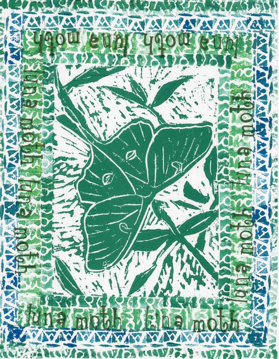Luna Moth green aqua olive blue quad stamp border by RainbowDarter, $12.00