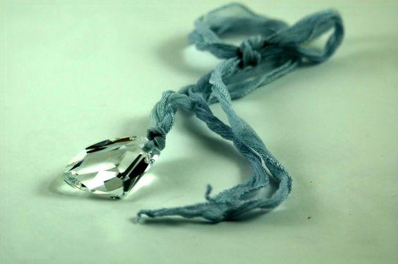 Crystal Swarovski on Baby Blue Silk Ribbon Necklace N191 by Marcia Etheridge