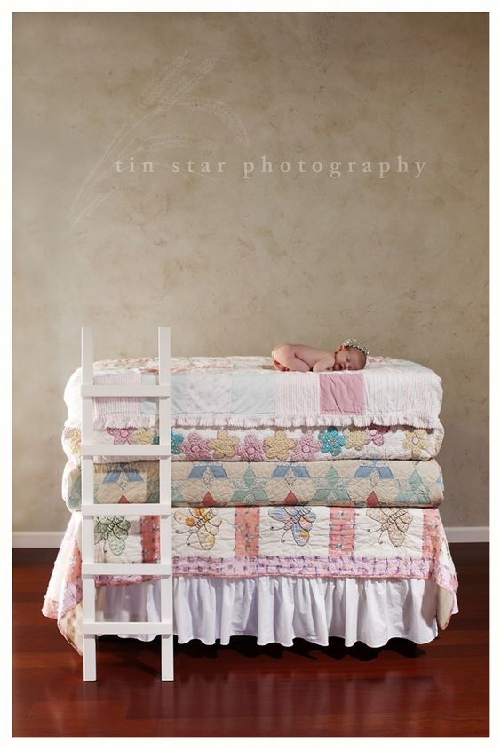 CUTEST baby girl newborn pic ever! Adore this Princess and the Pea inspired shot. <3