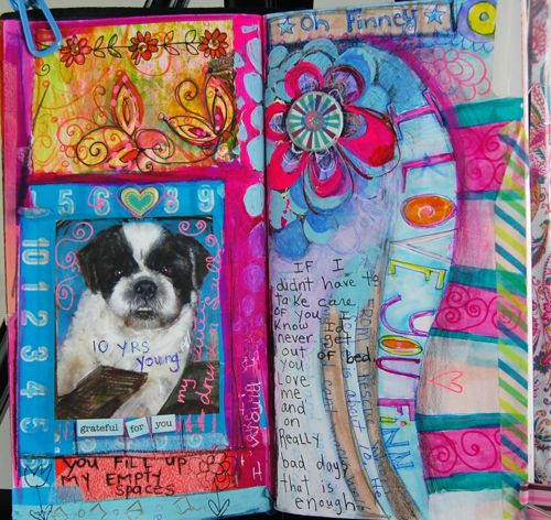Pet Art Journal Page, finney foo foo! My Midori Traveler's Notebook.  Suzi Blu
