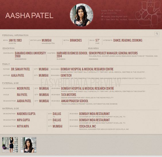 biodata for marriage format for woman created with