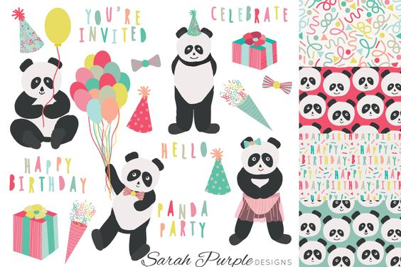 Possible the best party you could ever go to?! A panda party! We've got you covered with cute clipart in the form of party hats, confetti, party quotes and pandas!