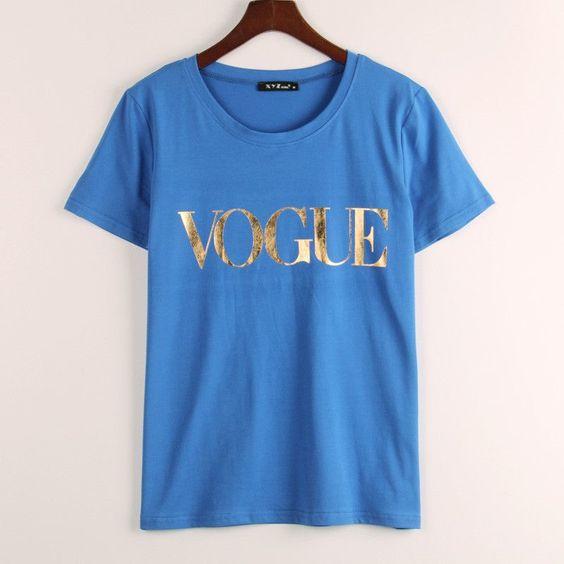 VOGUE Printed T-shirt Women Tops Tee Shirt Femme New Arrivals Hot Sale Casual Sakura