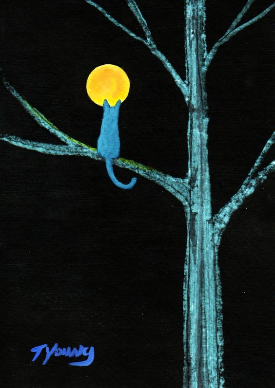Russian Blue Cat MOON GAZING Limited Edition by ToddYoungArt