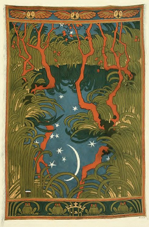 'Waldteich' tapestry design by Otto Eckmann, produced in 1898.