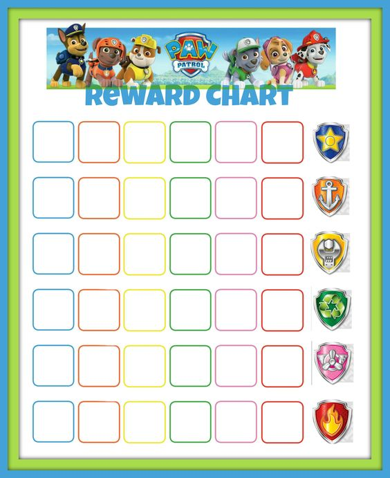 Paw Patrol Reward Chart ---- might try to get jack to sleep on his - blank reward chart template