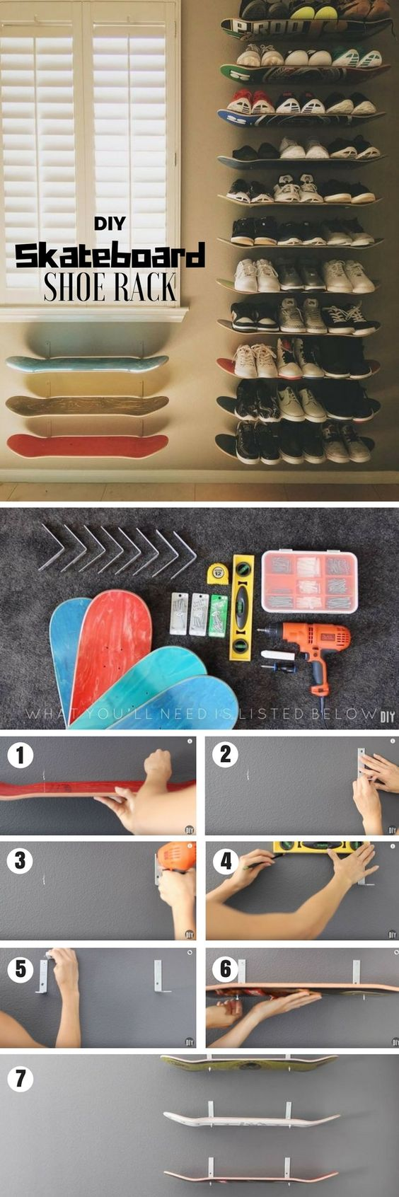 Check out how to build a DIY shoe rack from old skateboards @istandarddesign