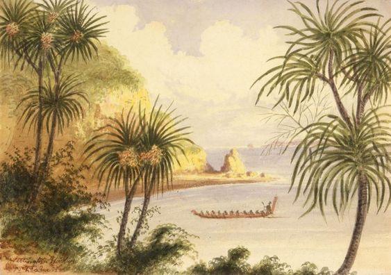 Painting, Maori boat, Miramar