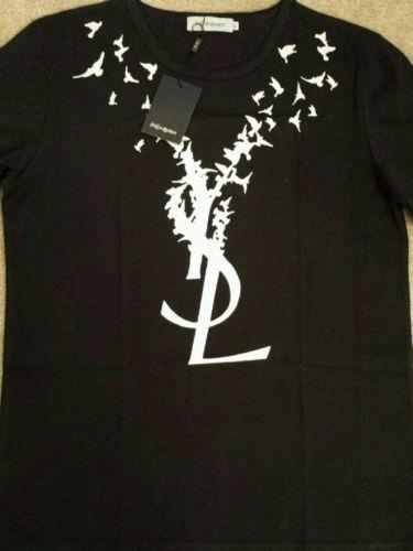 Yves Saint Laurent YSL Flying Birds Logo Men's Designer T-Shirt Size XL | eBay