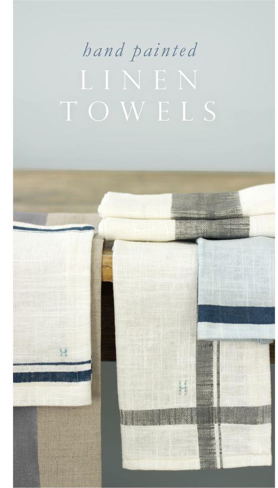 Hand Painted Linen Kitchen Towels & Napkins