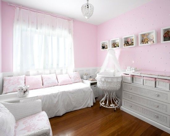traditional baby girl bedroom with light pink wall paint color also