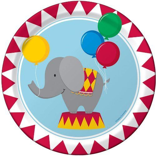 "Circus Time Birthday Party Print 9"" Dinner Plate 8 per package by Creative Converting, http://www.amazon.com/dp/B00E0NDZB4/ref=cm_sw_r_pi_dp_ZUy.rb1AVYRVQ"