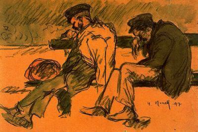 """""""Dos pobres durmiendo, 1897"""". Carboncillo y acuarela. 27,8 x 39,8 cms. Gabinete de Dibujos y Grabados del MNAC, Barcelona. España."""