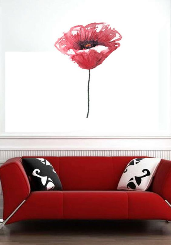 Flower Floral Water Color  Vinyl Wall Decal Full by uBerDecals