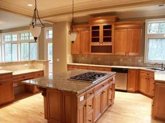 Light Wood Floor With Medium Cabinets