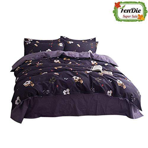 Fendie Vintage Floral Bedding Set Dark Purple Twin Egyptian Duvet Comforter Cover Zipper Clousre Reversibl Duvet Cover Pattern Duvet Cover Sets Comforter Cover