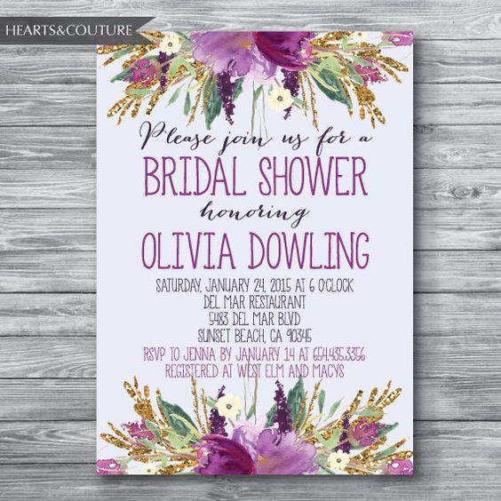 Purple Flower Bridal Shower Invitation : Bridal shower invitation wedding invite floral