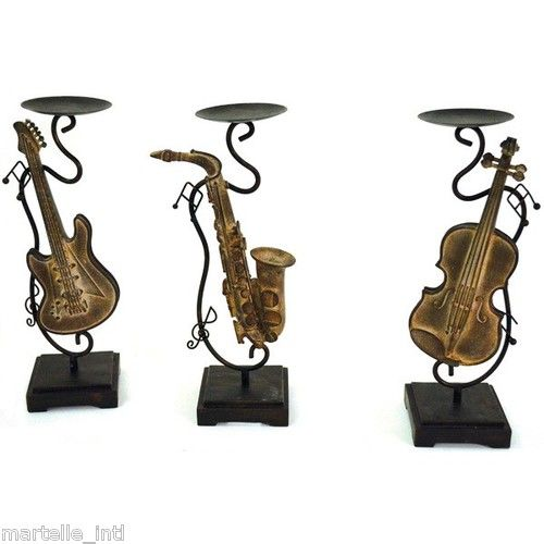 Candle holder set violin guitar saxophone new free for Classic house track with saxophone