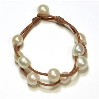 Fine Pearls and Leather Jewelry by Designer Wendy Mignot Music Two Strand Freshwater Bracelet White