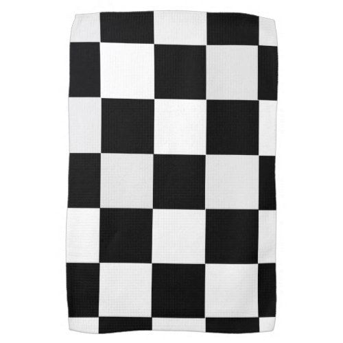 Black And White Checkered Kitchen Towel With Images Black And White Towels White Towels Patterned Linens