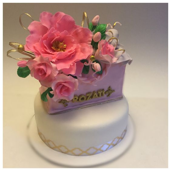 Gumpaste flower birthday cake My cakes Pinterest Birthday