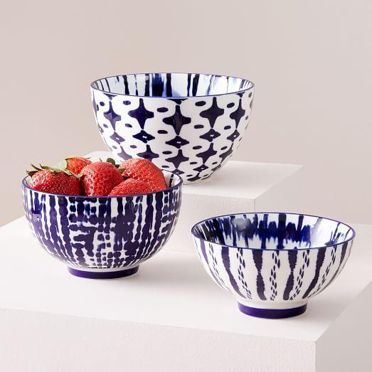 Indigo Tie Dye Nesting Bowls Set Of 3 Nesting Bowls Indigo