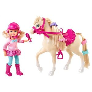 Barbie and Her Sisters in a Pony Tale Chelsea and Pony Doll Set. In the new story, BarbieTM & Her Sisters in a Pony Tale, Barbie and her sisters head to the horse academy and make some new animal friends. This set celebrates the relationship Chelsea forms with her sweet horse. Chelsea doll loves to groom and decorate the cute white pony, and the pony loves the attention. Chelsea doll looks adorable in a sassy riding outfit with a matching helmet (safety, first!). Girls will love recreating…