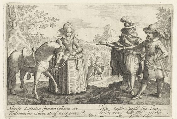 Jacob van der Heyden   Nim wahr wass für haar/ dieser kauff hatt gros gefahr, Jacob van der Heyden, Philips Angel, 1608   Allegorie op de onbedachtzame huwelijkskeuze. In een landschap op de voorgrond een dame die een paard aan de teugels houdt; voor haar twee heren die ernaar wijzen. Op de achtergrond een minnend paar. In de marge 4 regels tekst: links latijn: Adspice..gravis est; rechts Duits: Nim wahr wass für haar, dieser kauff hat gros gefahr. r.o. genummerd 10 (foutief 01 gedrukt)…