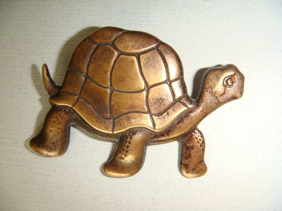 """ButtonArtMuseum.com - Large Stamped Brass Vintage Style Turtle Button 2"""""""