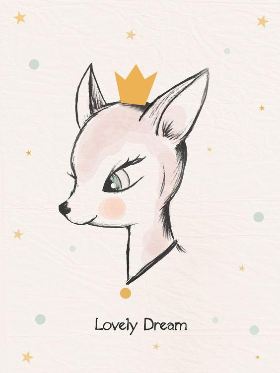 Affiche / Poster / Illustration déco pour chambre d'enfant * Lovely dream. : Illustration / Bambi / Biche / Vintage / Kids / Children's room / Poster /