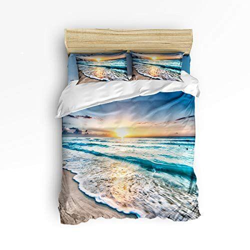 Landscape Quilted Bedspread /& Pillow Shams Set Summer Beach Spain Print