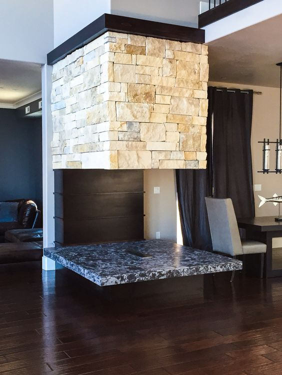 Ash Ram Fireplace. Contemporary modern rustic design.