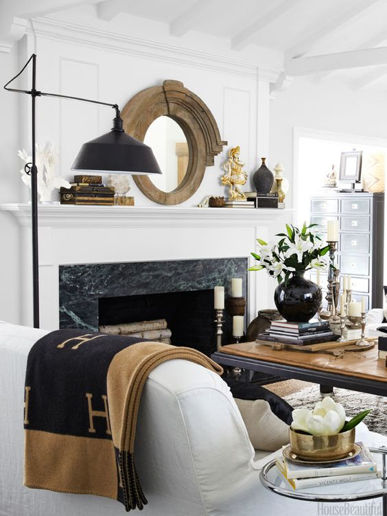 EBTH Tastemaker Anissa starts every room with the same base: white, black and wood | Via  House Beautiful: