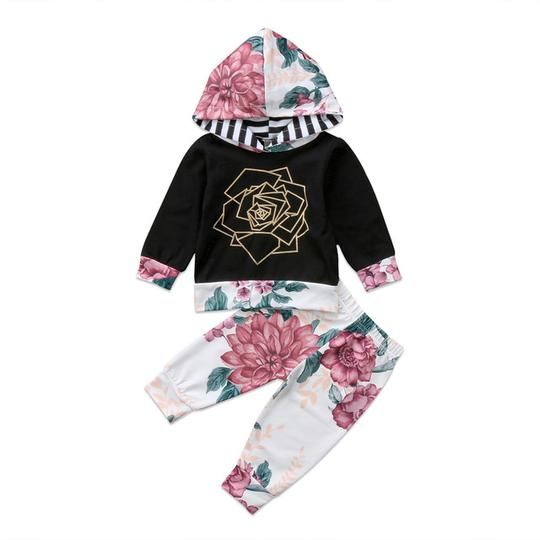2pcs Toddler Infant Baby Boys Girls Outfits Clothes Set Floral Hoodie Tops Pants