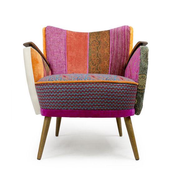 Danish midcentury modern patchwork armchair by lasilladesign. #danishmidcentury #vintagearmchair