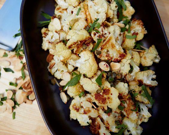 Almond recipes, Giada de laurentiis and Roasted cauliflower on