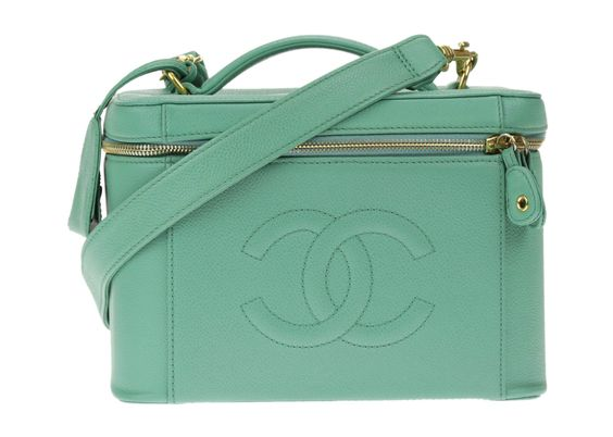 Chanel Mint Green Caviar Leather Vanity Case
